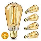 KKTICK Ampoule Edison, Lampe Edison Vintage Décorative Ampoule Filament E27 ST64 Retro Antique Lampe Idéal pour les éclairages nostalgiques et Maison, Bars, Restaurant, Café - 4 Pack