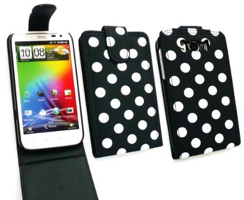 Emartbuy Value Pack Für Htc Sensation Xl (Runnymede) Polka Dots Schwarz / Weiss Flip Case / Cover / Beutel + Kompatiblen Micro Usb Auto Ladegerät + Lcd Screen Protector