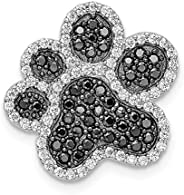 Beautiful Sterling silver 925 sterling Sterling Silver Rhodium-plated Black/White CZ Paw Print Pendant