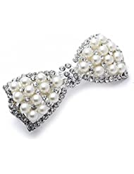 TOOGOO(R) Barrette Pince Epingle a Cheveux Noeud Metal Fausse Perle 78x31mm Deco Femme