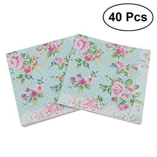 BESTOYARD Serviette bedruckt floral Handtuch von Blumen für Hochzeit Geburtstag Baby-Dusche, Paket von 40