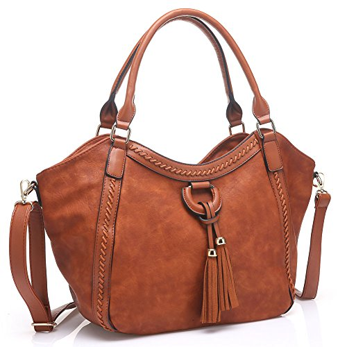 - 51p5ECzVAHL - UTAKE Women Handbags Leather Handbags Shoulder Bag PU Leather Bag Large Tote Bag UKUT59 Brown