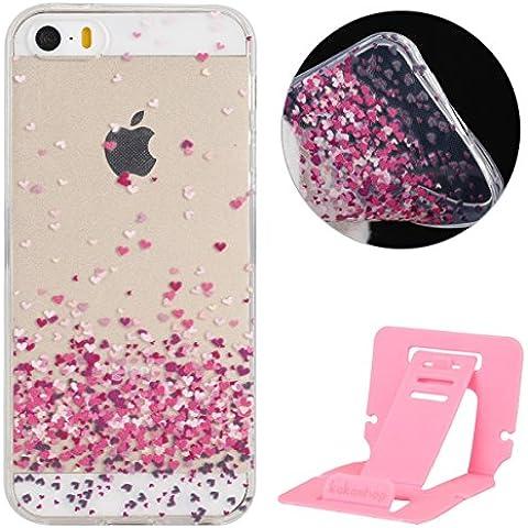 iPhone 6S Funda,iPhone 6 Case Bumper,Ekakashop Ultra Slim Transparente Silicona TPU Funda Cover Case para Apple iPhone 6 / 6S 4.7'' [Colorido Del Corazón] + pata de cabra (color al