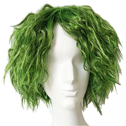Halloween Kostüm Joker Perücke Film Cosplay Wig Kurz Gras Grün Fluffy Lockig Haar Zubehör
