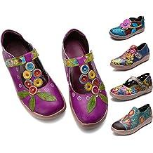 gracosy Mocasines de Cuero Merceditas Zapatos Planos para Mujer Verano Slip-On Hecho a Mano