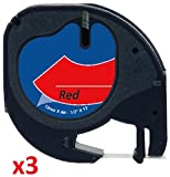 3 x Schriftband kompatibel für Dymo LetraTag 91203 / S0721630 (12mm x 4m) schwarz auf rot, Kunststoff