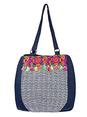 Pick Pocket Denim Blue zigzag Canvas Jholi