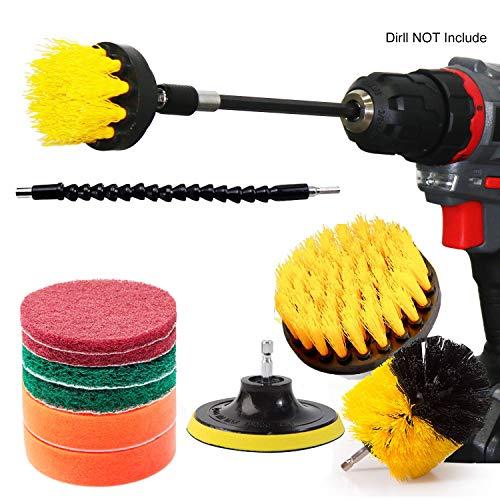 Qilerui Reinigungsbürste, für alle Zwecke, Badezimmeroberflächen, Fliesen, Fugen, Boden, Küchenoberfläche, Spinnbürste mit 2 Verlängerungen -