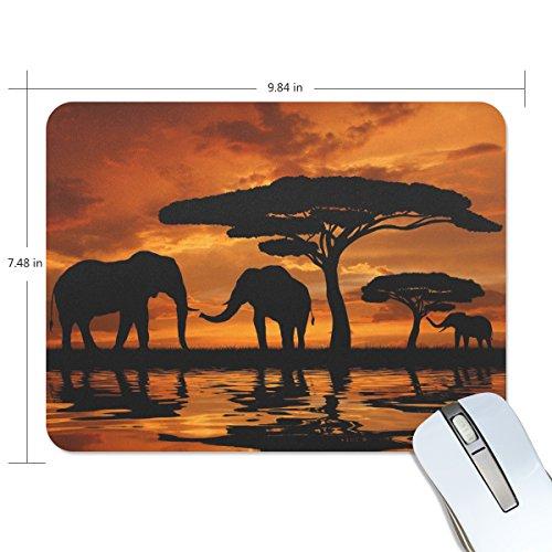 zzkko afrikanischem Tier Elefant im Sonnenuntergang rutschfest 25cm (L) x7.48(W) x0.2(H) Gummi-Mauspad für Home Office Laptop Desktop Tastatur