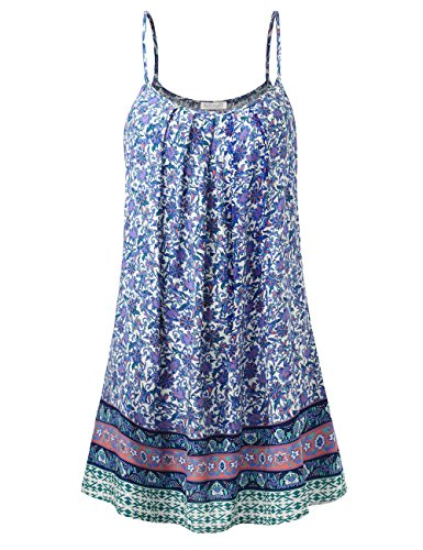 BaiShengGT Women's Front Pleated Floral Print Spaghetti Strap Tunic Slip Dress