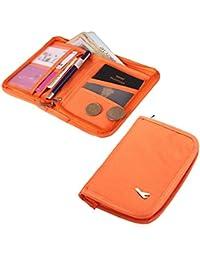 Packnbuy Sleek Travel Passport Organizer Wallet With Zip For Credit Card Ticket Coins Money Cash Currency Boarding Pass Pen - Orange Color