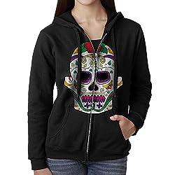 Sugar Skull Dia De Los Muertos Women's Zip Up Pullover Hoodie, Hooded Sweatshirt