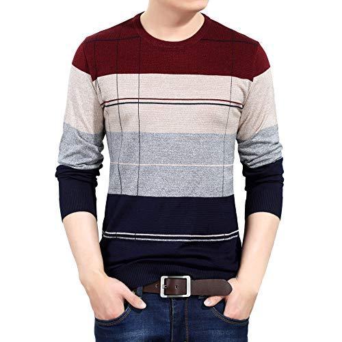 TWBB Sweatshirt Herren Streifen Splicing Langarm Sweatshirt Pullover Top Jumper