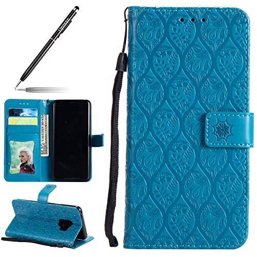 Uposao Hülle Kompatibel mit Samsung Galaxy S9 Handyhülle, Prägung Blumen Muster Handytasche Flip Case Cover Schutzhülle Ledertasche Lederhülle Bookstyle Klapphülle Kartenfächer,Blau -