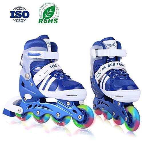 RISILAYS Inline Skates Kinder/Jungen/Mädchen Canvas Design Einstellbare Rollschuhe Kinder Mit Leucht PU Räder Dreifach Schutz Leichte Inline Skates,Blue,M