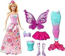 Barbie- Fairytale Dress Up Bambola con 3 Completini da Favola di Principessa, Sirena e Fatina, Multicolore, DHC39