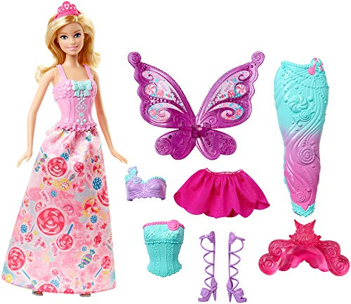 Barbie DHC39 - Dreamtopia Bonbon Königreich 3-in-1 Fantasie Barbie Puppe