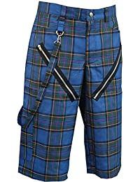 Nix Gut Tartan, Short In Straight-Fit Style, Color Blue