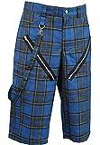 Nix Gut - Tartan, Short im Straight-Fit-Style, Farbe: Blau, Größe: 34