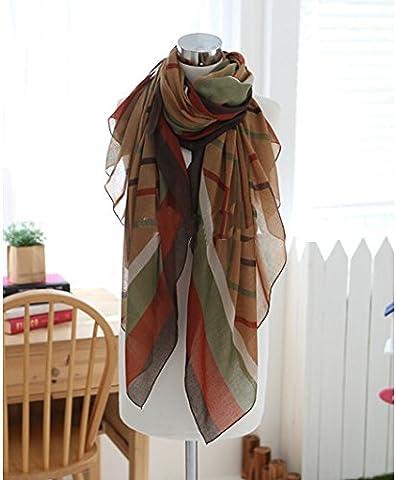CS Priorité Mode rayé Écharpe Automne Hiver de soie Soie châles chaud Wrap pour femmes Kaki