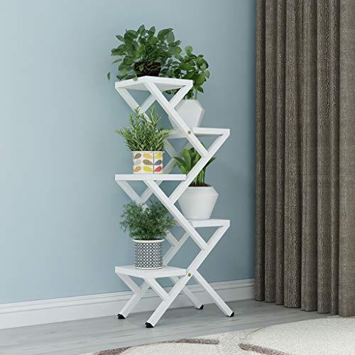 balcon voyantes Étagère à fleurs, 4 couches de cadre de bonsaï d'intérieur en sauge verte charnue, étagère de balcon en fer forgé blanc Plantes d'extérieur Présentoir (taille : 40 * 25 * 100cm)