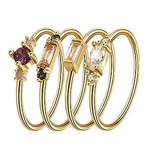 DALARAN Knuckle Ring Set für Frauen Gold stapelbare Ringe Set Zirkonia Boho Band