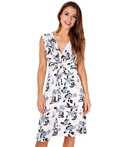 Grau Umstandskleid (KRISP 6252-GRY-14 Damen Kleid Geknotet Blumenmuster (Grau, Gr.42))