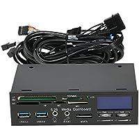 """KKmoon STW 5.25"""" Multifunción Panel Frontal del PC con LCD Pantalla, Con eSATA, USB 3.0 Hub, Controlador de Velocidad del Ventilador (Monitor CPU Temperatura) para XD/CF/SD y Lector de Tarjetas"""