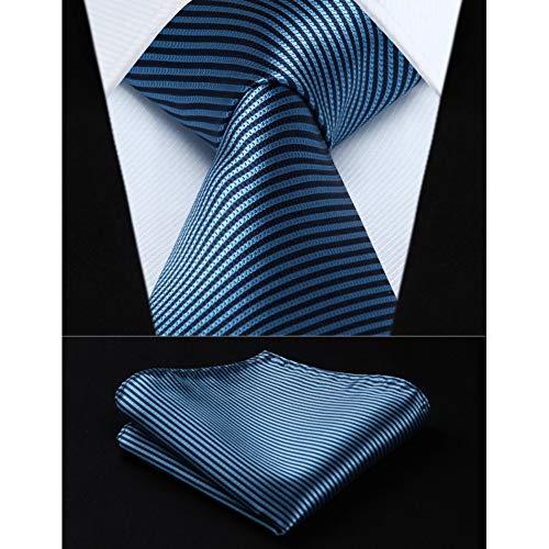 KYDCB Party Wedding Classic Einstecktuch Krawatte Aqua Navy Blue Stripe 3,4
