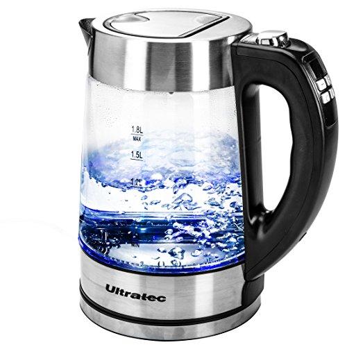 Ultratec BlueVita200 - Hervidor de Agua LED con ajuste de temperatura, 2200 W, 1,8 l, acero inoxidable y cristal, color negro y plateado
