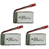 YUNIQUE ITALIA® 3 Pezzi Batteria Lipo Ricaricabile (7.4V 750mAh) per Rc Droni Quadricotteri MJX X300C X400 X800