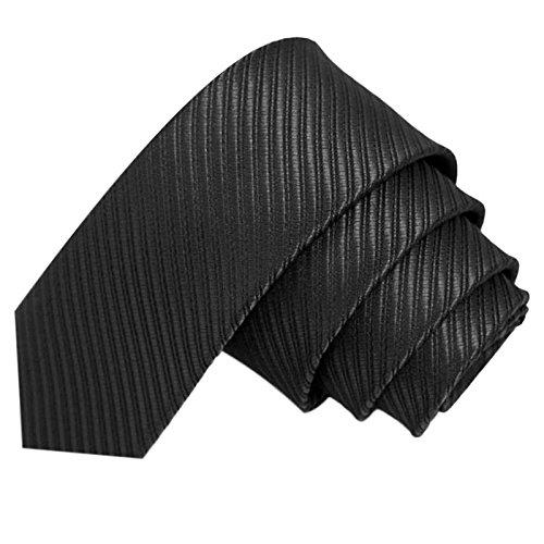 GASSANI Schwarze schmale dünne 5cm Krawatte gestreift | Skinny Herrenkrawatte Schwarz zum Sakko Anzug | Schlips Binder einfarbig mit Streifen