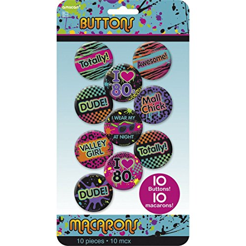 NET TOYS 10 STK. Party Buttons 80er Jahre Pins Mottoparty Badge 80`s Anstecknadel Geburtstag Anstecker