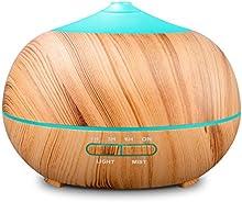 Tonerone 400ML Humidificador Aromaterapia Ultrasónico, difusor de aroma/aceite esencial de Vapor frío, anillo de luces LED de 7 colores,para Hogar, Oficina,Dormitorio,sala,sala de estar etc.
