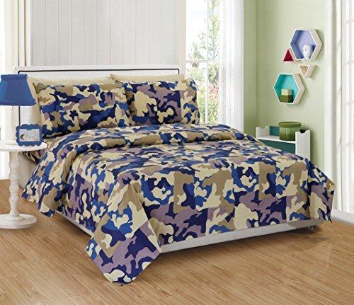 K&M MK Collection Tabelle Set Tröster Set mit dekorativer Kissen Camouflage Army Beige Blau Taupe Off Weiß NEU, Mikrofaser, Beige Blue Taupe Off White, Twin Sheet -
