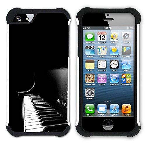 Graphic4You Black Music Piano Design Hart + Weiche Kratzfeste Hülle Case Schale Tasche Schutzhülle für Apple iPhone SE / 5 / 5S Design #13