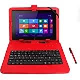 DURAGADGET Funda / Teclado Color ROJO En ESPAÑOL Con Letra Ñ Para Tablet BQ Tesla W8 Con Conexión MicroUSB + Adaptador MicroUSB-USB + Lápiz Stylus - Función Atril