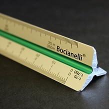 30cm Scalimetro in Alluminio Triangolare Professionale 1:10 1:20 1:25 1:50 1:75 1:125 / 1:100 1:200 1:250 1:500 1:750 1:1250 – Disegno Tecnico Architettura Ingegneria