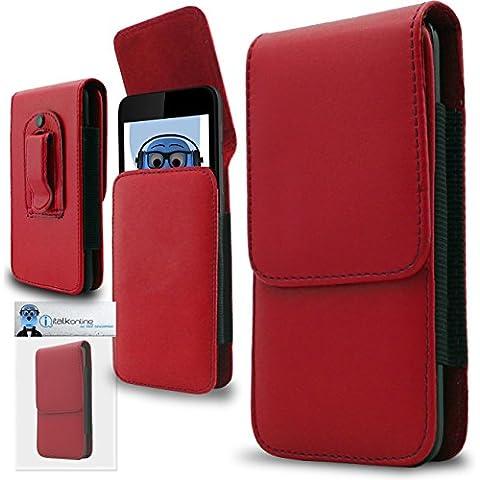 iTALKonline Samsung T509 PU Pelle ROSSO Verticale esecutivo laterale del raccoglitore della copertura della cassa del sacchetto con attacco cintura
