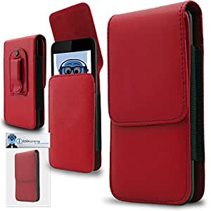 Red PREMIUM PU Leather Vertical Executive Side Pouch Case Cover Holster with Belt Loop Clip and Magnetic Closure for LG LS840 Viper 4G LTE