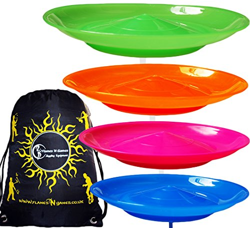 4x Spinning Plate Set  Green Orange Pink Blue  High Quality CLASSIC Circus Spinning Plates   2-piece Sticks   Flames N Games Travel Bag  Great fun for Kids   Adults