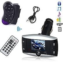 Kit de coche LCD MP3 Bluetooth USB reproductor de mando a distancia inalámbrico con receptor USB SD MMC LCD Kit Bluetooth para el coche reproductor de MP3 reproductor de música reproductor de modulador FM transmisor de radio FM con Control para volante manos libres Kit de coche MP3 reproductor