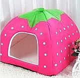 Hi_Smile Strawberry Kennel Pet Cave Bed Faltbares Katzennestbett Waschbares Schlafzelt