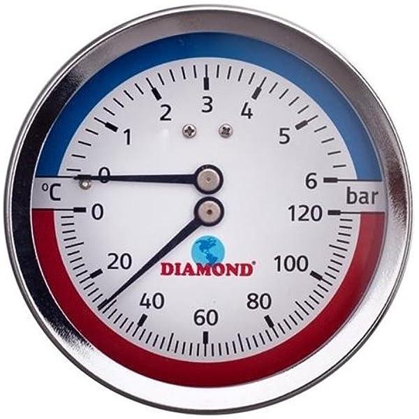 Thermomanometer 1 2 Ø80 Mm 0 120 C 0 6 Bar Axial Baumarkt