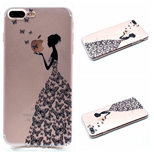 Qiaogle Téléphone Coque - Soft TPU Silicone Housse Coque Etui Case Cover pour Apple iPhone 5 / 5G / 5S / 5SE (4.0 Pouce)- MM02 / Pink et Blanc Fleur MM05 / Papillon Fille