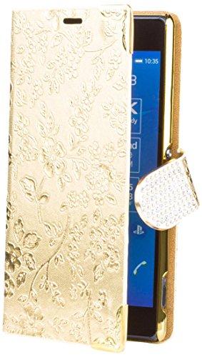 iCues Sony Xperia Z3 |  Chrom Blumen Tasche Gold | [Display Schutzfolie Inklusive] Floral Strass Glitzer Glitter Luxus Bling Damen Frauen Mädchen Chrome Book Klapphülle Schutz Etui Handytasche zum aufklappen Flip Case Schutzhülle Booklet Hülle Wallet