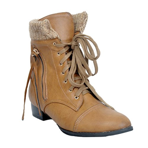 Kolnoo Damen Fashion Boots Lace-up Low-Ferse Winter-Ankle Booties Euro Style Schuhe Brown