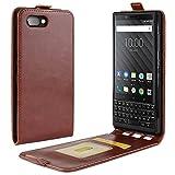 HualuBro BlackBerry KEY2 Hülle, Premium PU Leder Leather HandyHülle Tasche Schutzhülle Flip Case Cover mit Karten Slot für BlackBerry Key 2 Smartphone (Braun)
