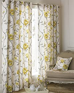 "Floral Flowers On Vines Ochre Yellow Beige Lined 46"" X 54"" - 117cm X 137cm Ring Top Curtains from Curtains"