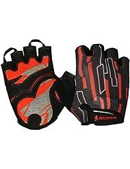 Longra Deportes al aire libre Biking de ciclo medios guantes del dedo (Rojo, M)
